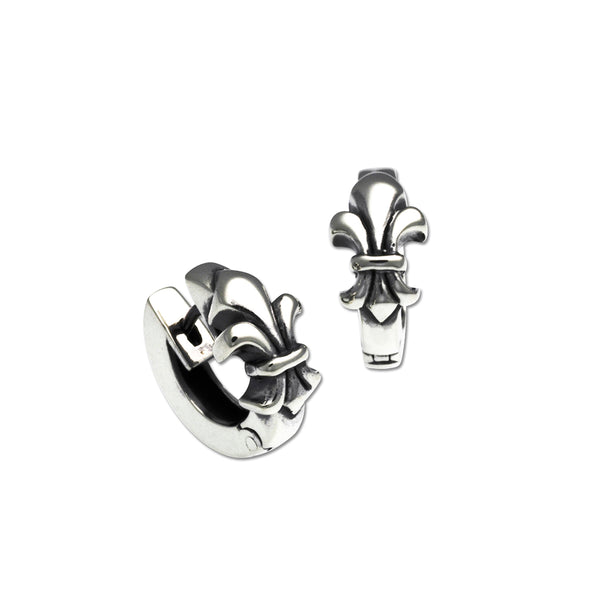 Fleur de Lys Snap Hoop Earrings