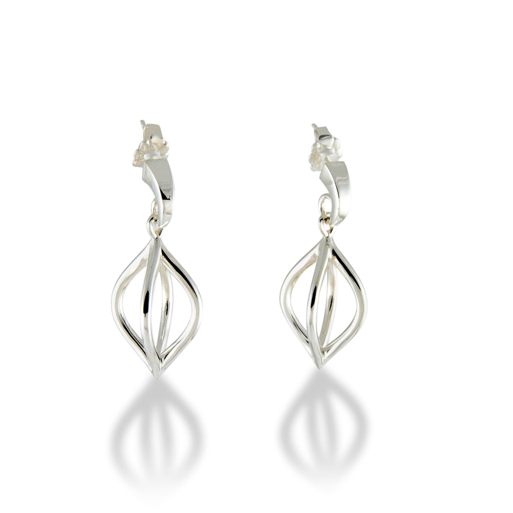 Wire Pod Drop Earrings