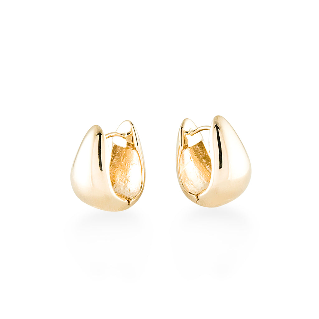 Gold Pear Shaped Snap Earring