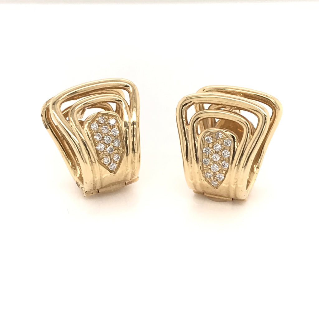 Fanwire Pave Diamond Earrings