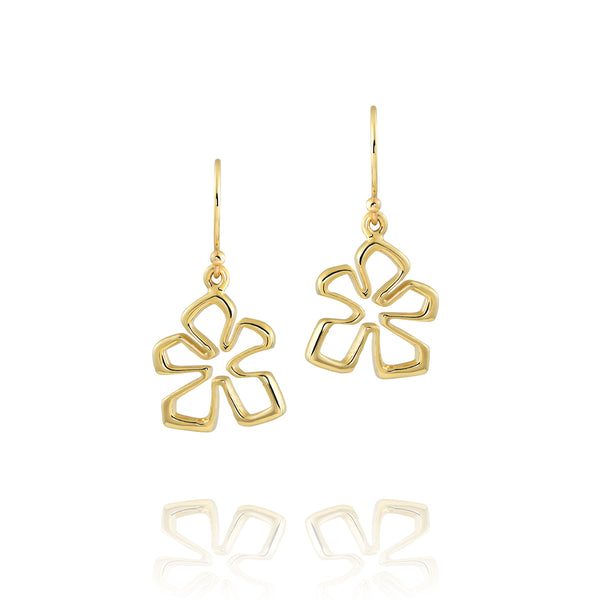 14k Gold Small Tiki Flower Earrings