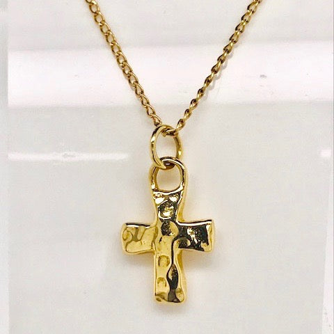 14k Gold Ripple Cross Pendant