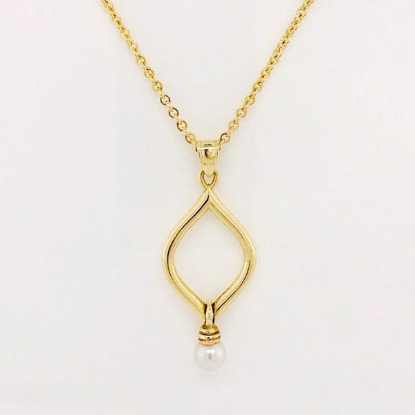 Gold Wired with Pearl Drop Pendant