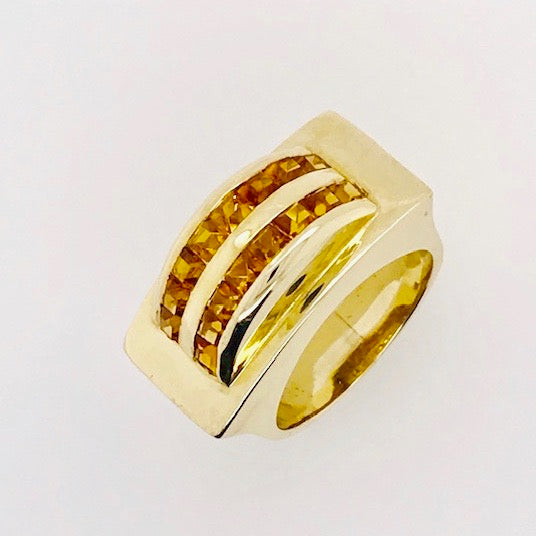 Citrine and Gold Arch Ring