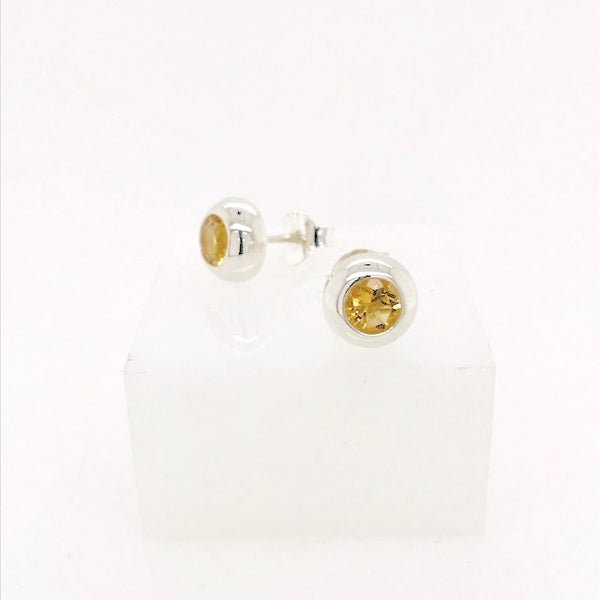 Round Gemstone Stud Earring