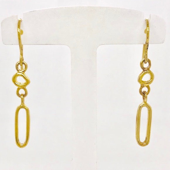 Vermeil Two Mini Touchstone Drop Earrings