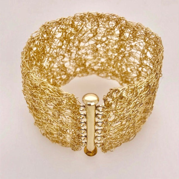 Gold Filled Wide Woven Mesh Bracelet