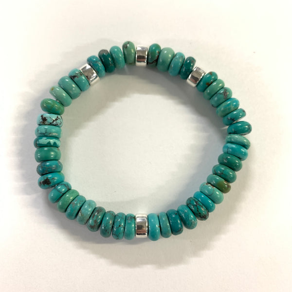 Custom Turquoise and Silver Bead Bracelet