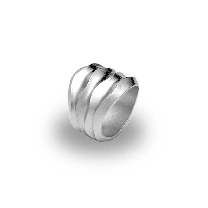 Wide Tapered Desert Wave Band Ring