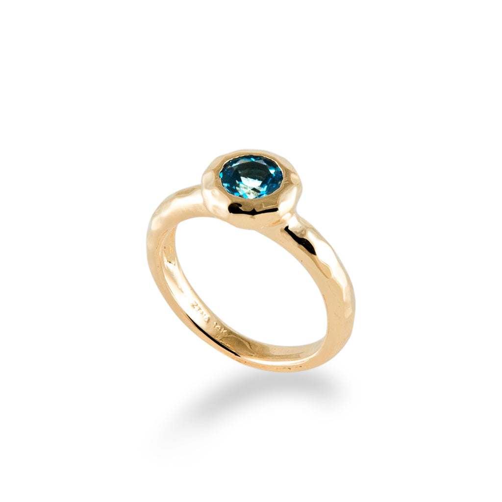 Ripple Ring with Blue Topaz