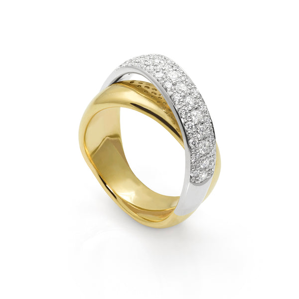 Pave Arch Top Ring in 14K Gold