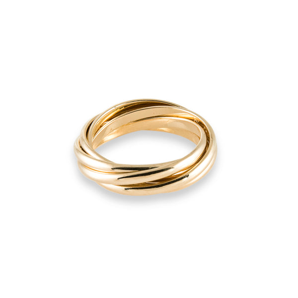 5 Band Rolling Ring in 14K Gold