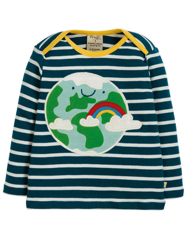 Frugi Long Sleeved Top Organic Breton Stripe Earth