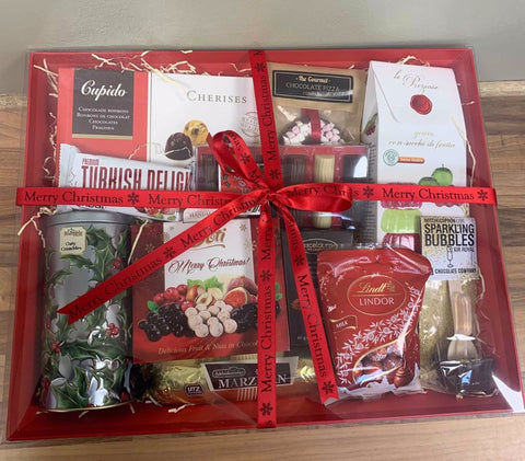 corporate christmas hamper with a selection of speciality chocolate