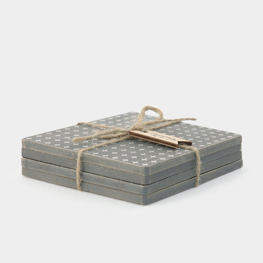East of India Coaster Set-Grey Geometric