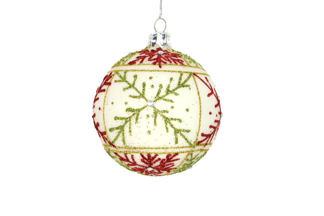 Gisela Graham White with Red & Green Glitter Snowflakes Bauble