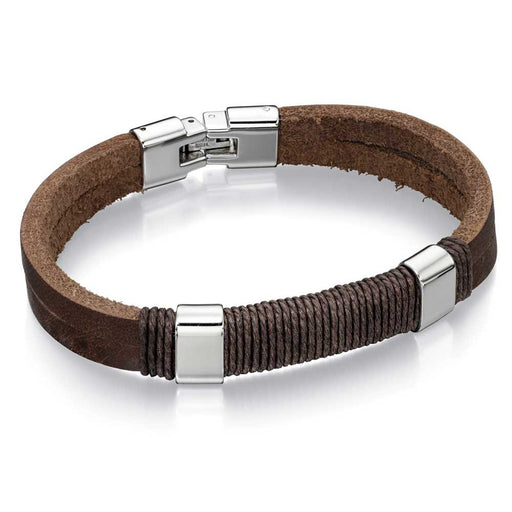 Fred Bennett Stainless Steel Brown Leather Cord Bracelet