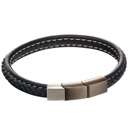 Fred Bennett Stainless Steel Brushed Finish Plaited Navy Leather Bracelet