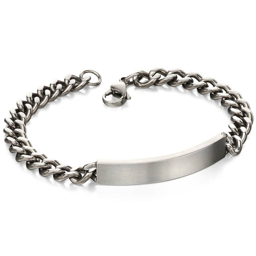 Fred Bennett Stainless Steel Diamond Cut ID Chain Bracelet