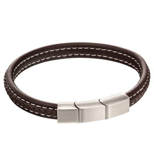 Fred Bennett Stainless Steel Brushed Finish Brown Leather Plaited Bracelet