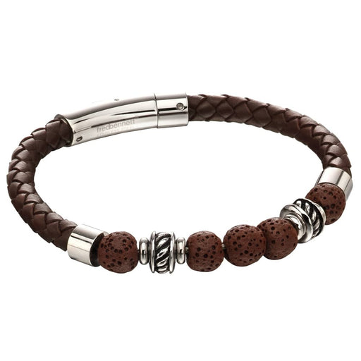 Fred Bennett Stainless Steel Brown Leather Lava Bead Bracelet