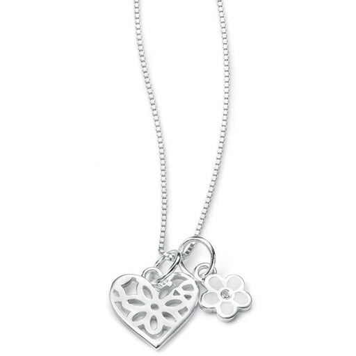 D For Diamond Daisy & Heart Necklace