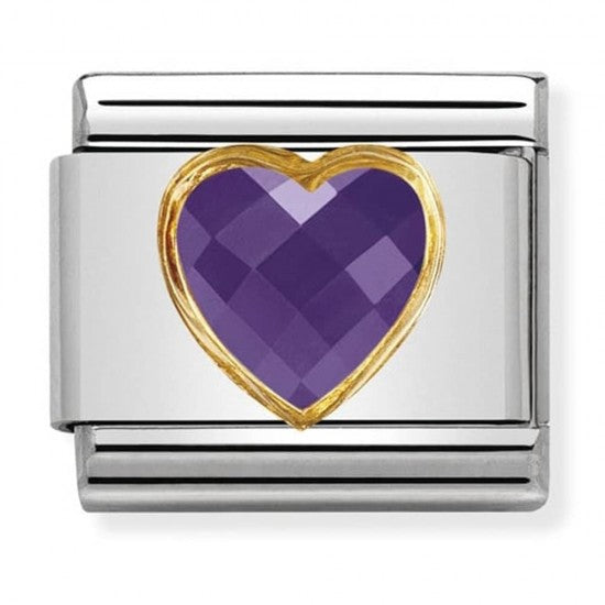 Nomination Classic Gold Charm - Purple Heart Stone