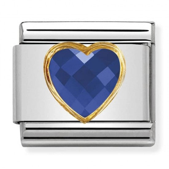 Nomination Classic Gold Charm - Blue Heart Stone