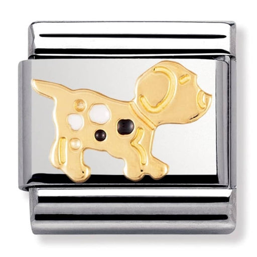 Nomination Classic Gold Charm - Black Spot Dog