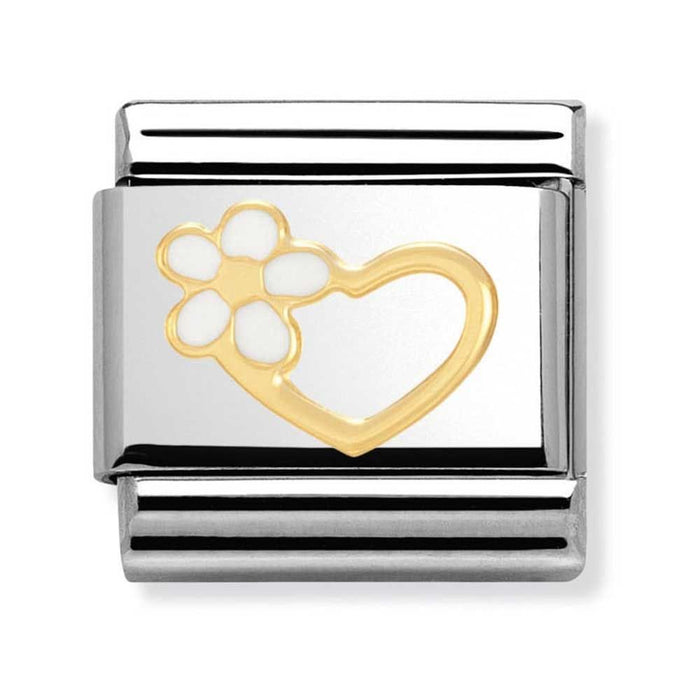 Nomination Classic Gold Charm - Love Heart With Flower