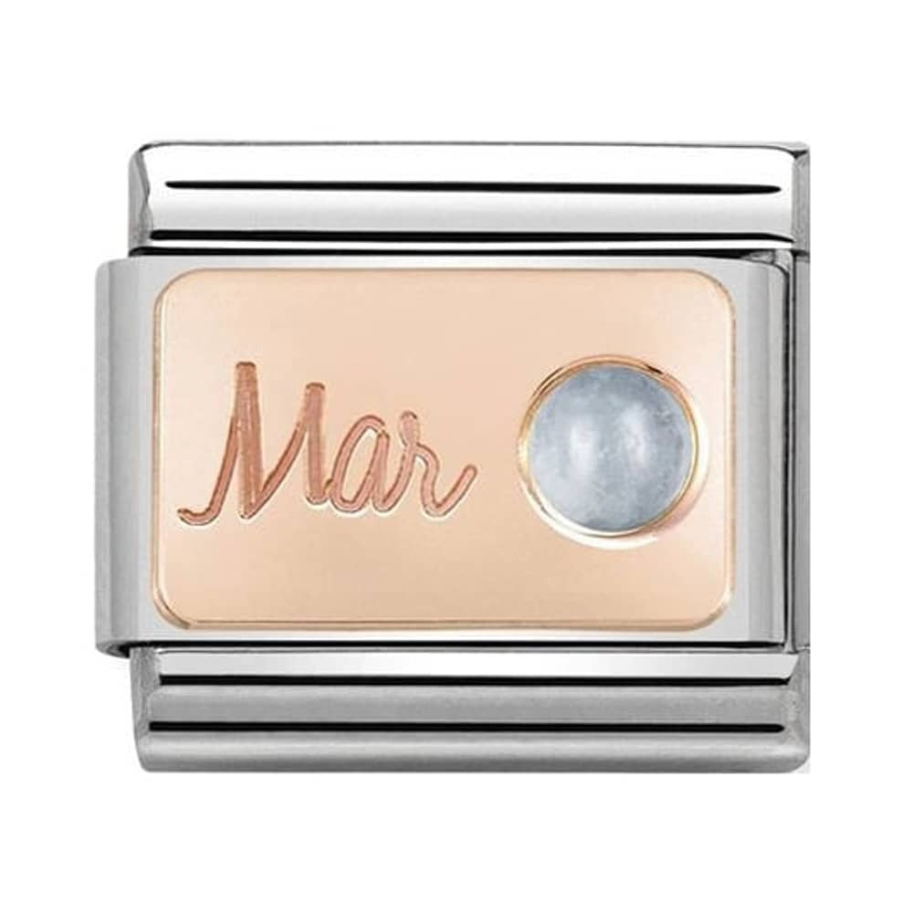 Nomination Classic Charm - Rose Gold March Aquamarine