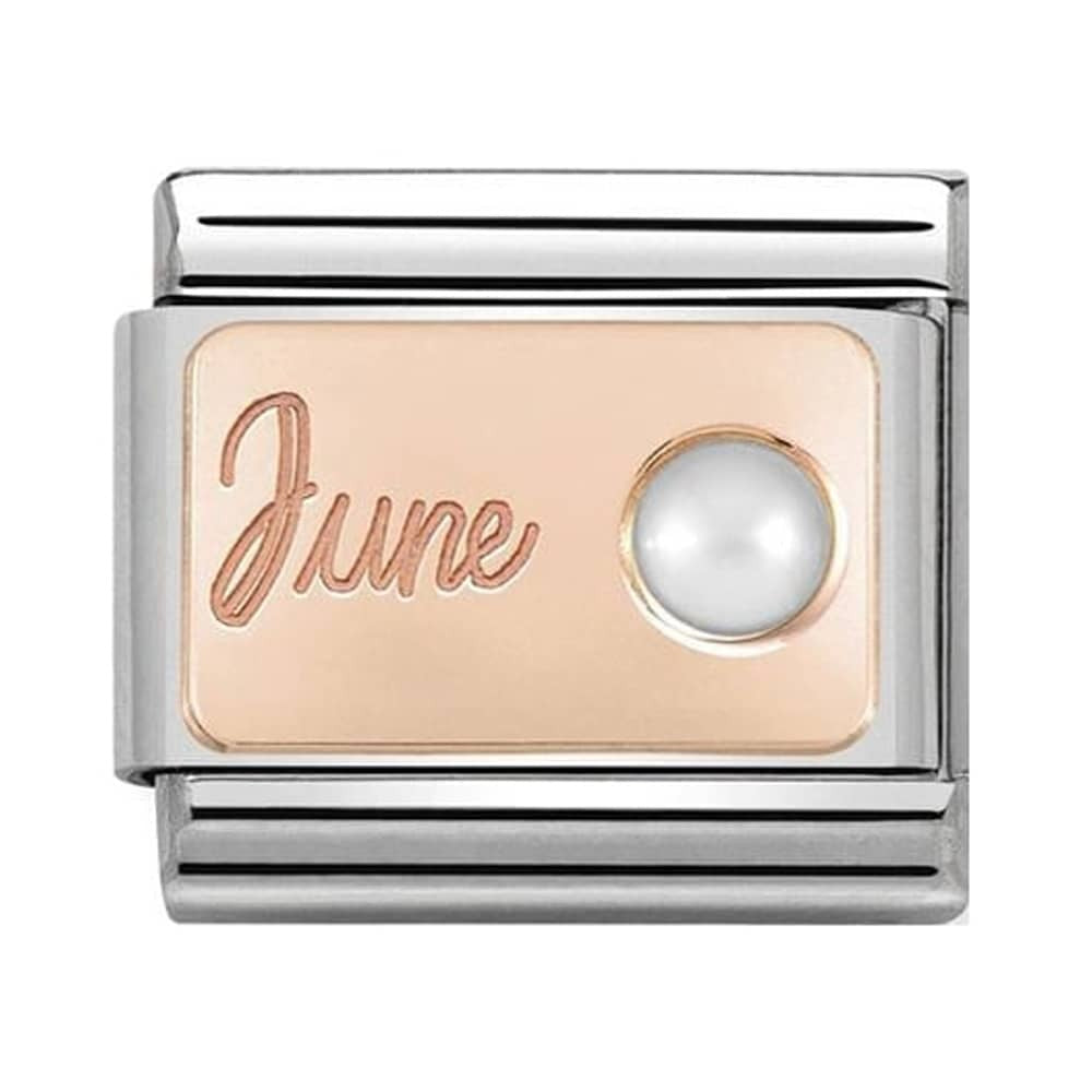 Nomination Classic Charm - Rose Gold June White Pearl
