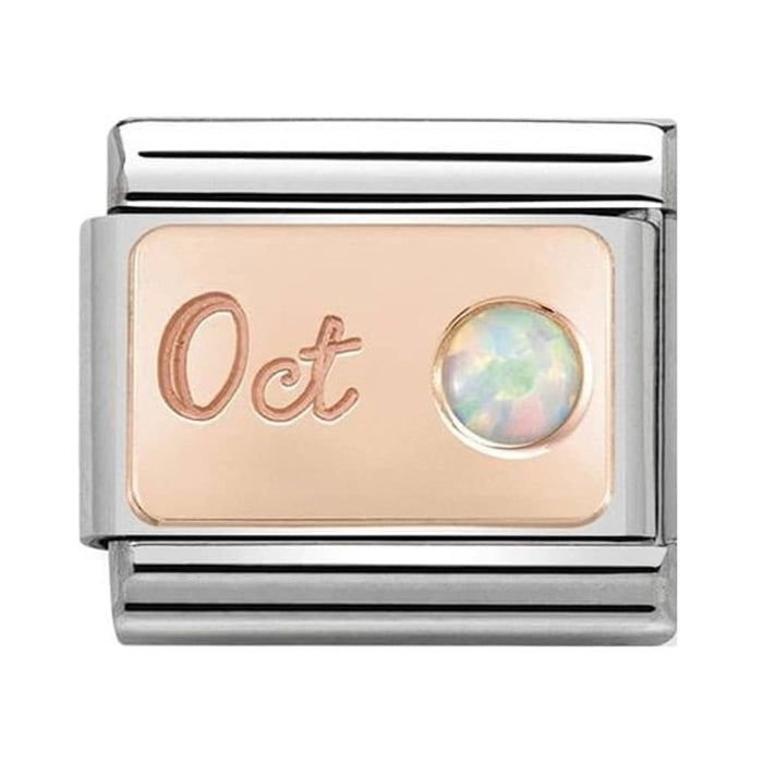 Nomination Classic Charm - Rose Gold October White Opal