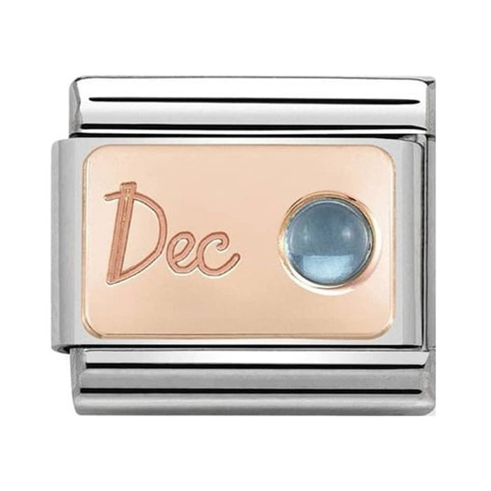Nomination Classic Charm - Rose Gold December Light Blue Topaz