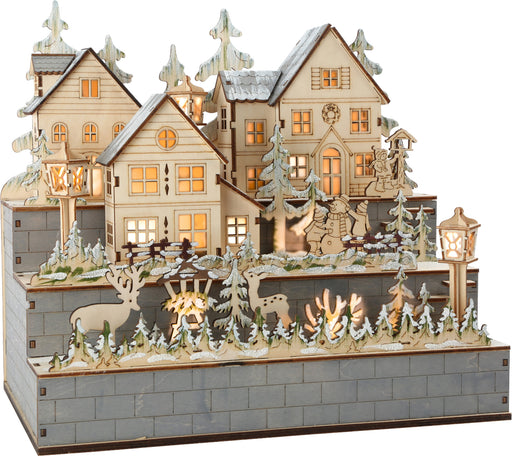 "Wooden Lamp ""Winter Village"" Scene"