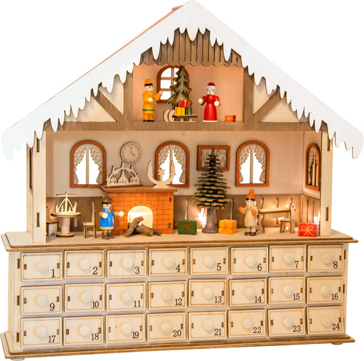 Wooden Living Room Advent Calendar with Lights