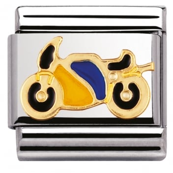 Nomination Classic Gold Charm - Yellow and Blue Motorbike