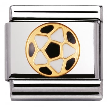 Nomination Classic Gold Charm - Black and White Football