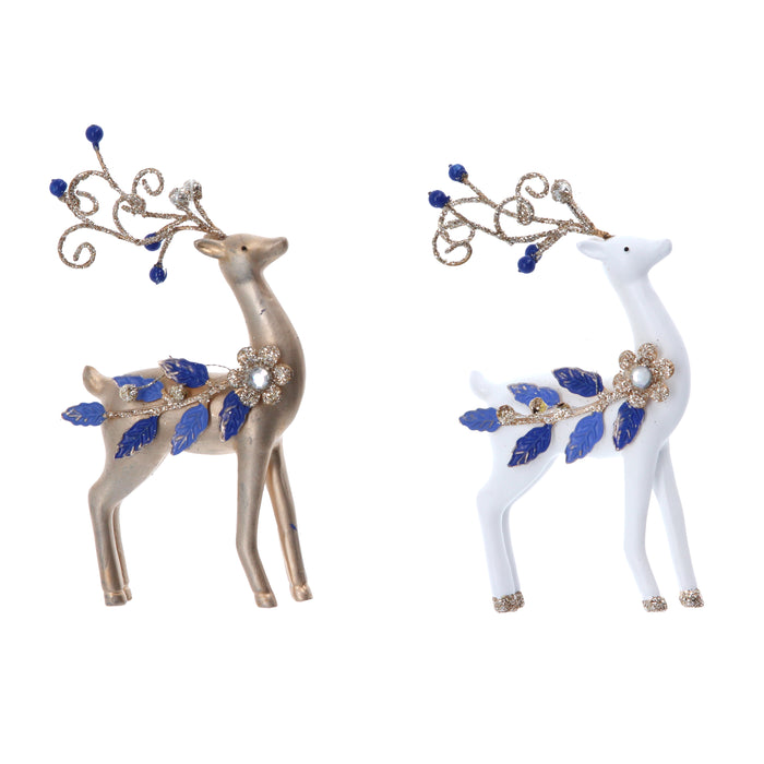 Gisela Graham Gold & White Resin Reindeer with Blue Jewel Decoration