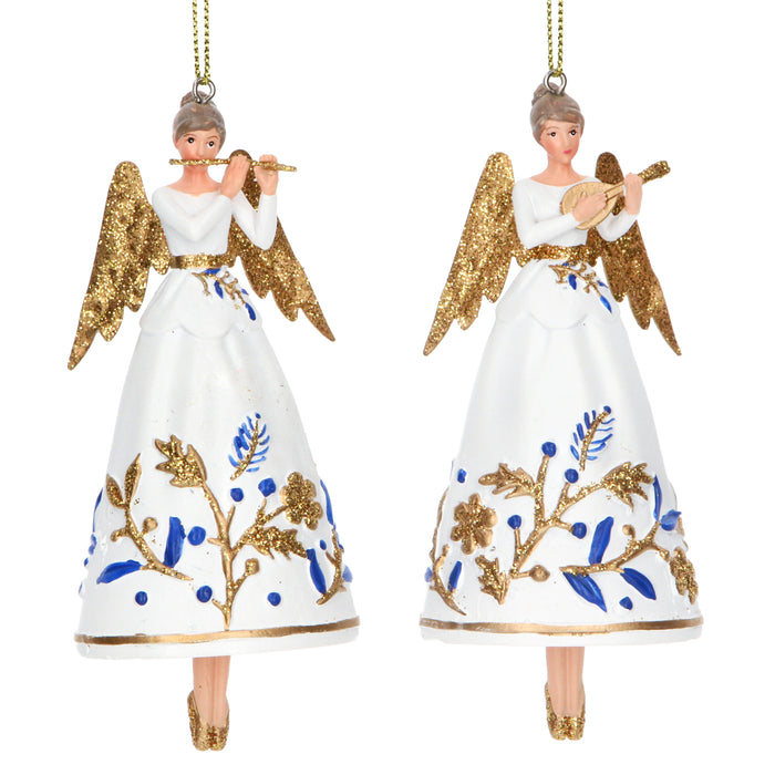 Gisela Graham Blue, Gold & White Resin Angel Decoration