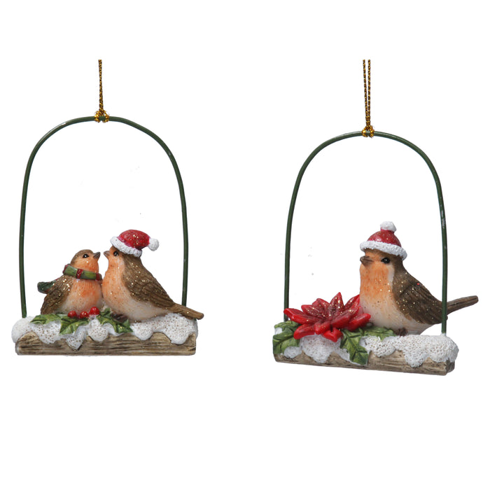 Gisela Graham Resin Robin on Log Swing Decoration
