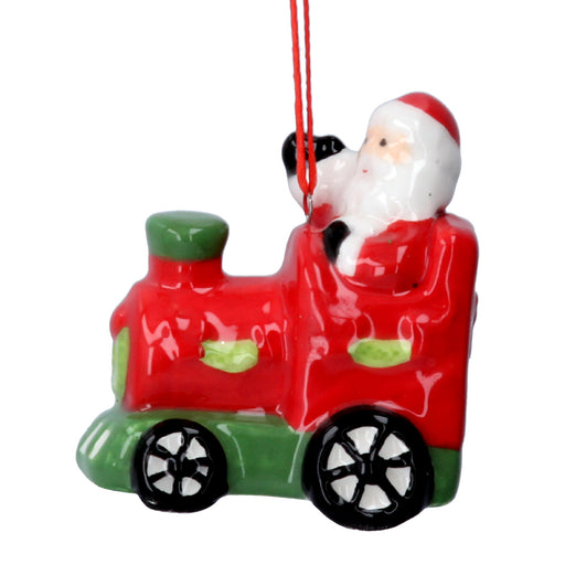 Gisela Graham Ceramic Santa on Train Tree Decoration