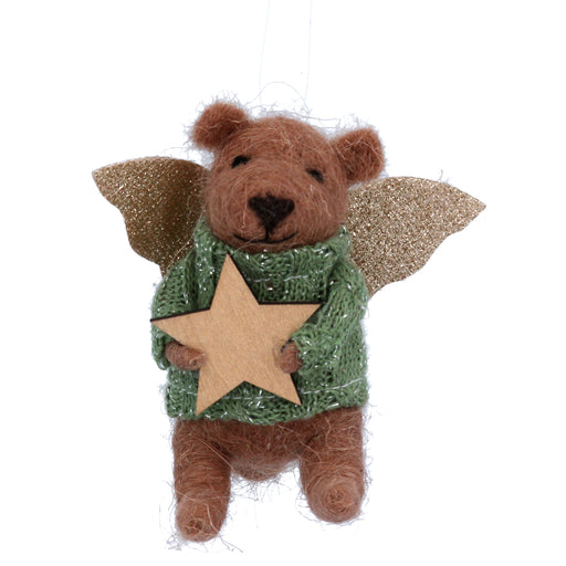 Gisela Graham Wool Teddy Angel with Gold Star Decoration