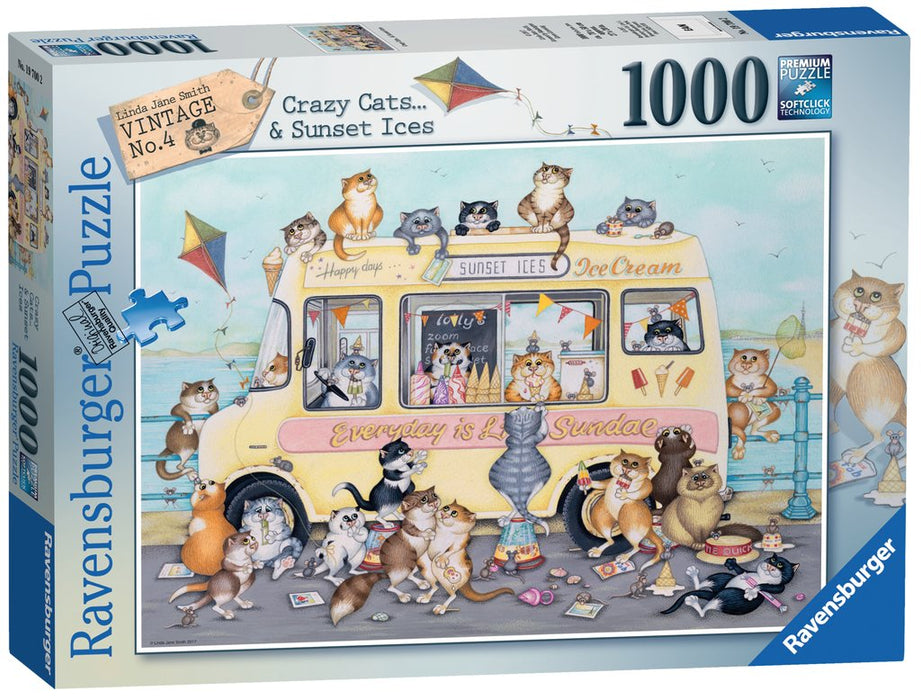 Ravensburger Crazy Cats - Sunset Ices, 1000pc Jigsaw Puzzle