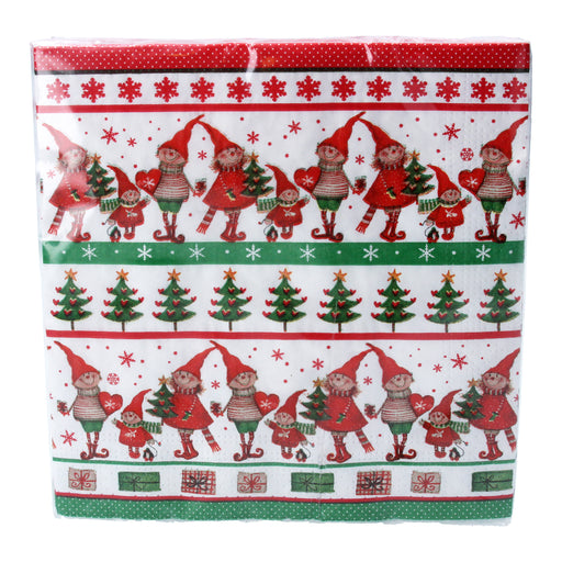 Gisela Graham Set of 20 Scandi Elf Paper Napkins