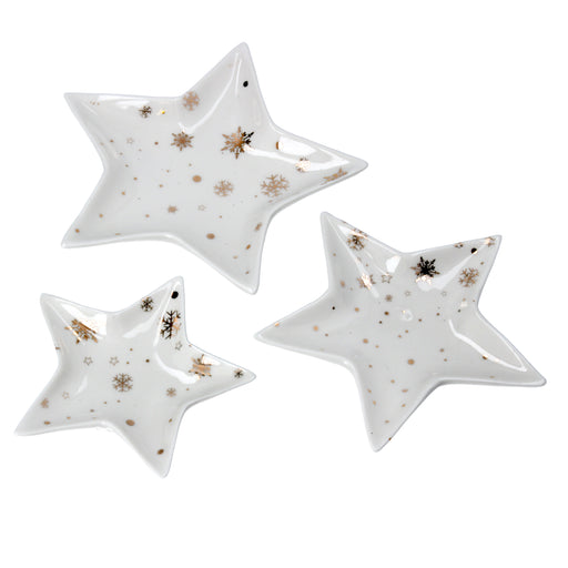 Gisela Graham Gold & White Ceramic Star Trinket Plate Set