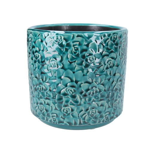 Gisela Graham Teal Succulents Ceramic Mini Pot