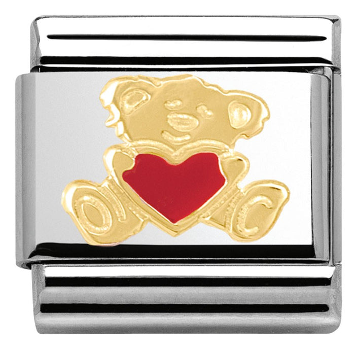 Nomination Classic Gold Charm - Teddy with Heart