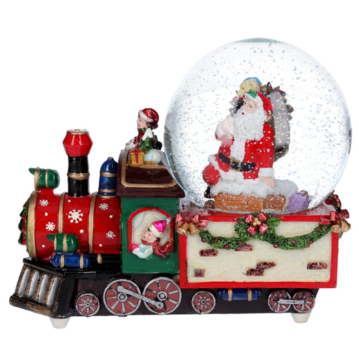 Gisela Graham Resin Train w Santa Dome Musical Ornament