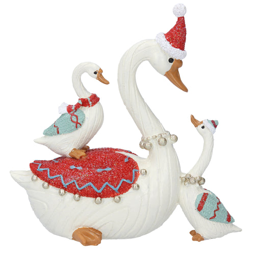 Gisela Graham Coloured Resin Swan with Babies Ornament